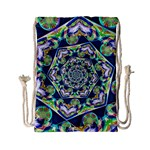 Power Spiral Polygon Blue Green White Drawstring Bag (Small) Front