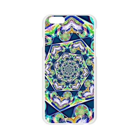 Power Spiral Polygon Blue Green White Apple Seamless iPhone 6/6S Case (Transparent)
