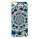 Power Spiral Polygon Blue Green White Apple Seamless iPhone 6 Plus/6S Plus Case (Transparent) Front