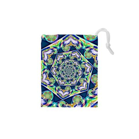 Power Spiral Polygon Blue Green White Drawstring Pouches (XS)