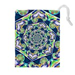 Power Spiral Polygon Blue Green White Drawstring Pouches (Extra Large) Front
