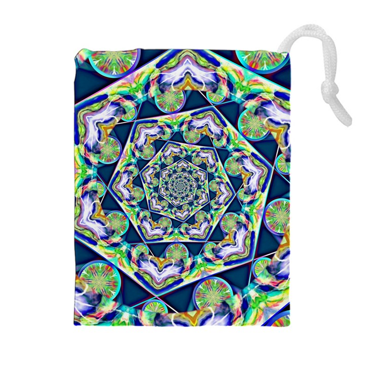 Power Spiral Polygon Blue Green White Drawstring Pouches (Extra Large)