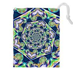 Power Spiral Polygon Blue Green White Drawstring Pouches (xxl)
