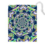 Power Spiral Polygon Blue Green White Drawstring Pouches (XXL) Front