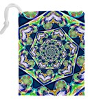 Power Spiral Polygon Blue Green White Drawstring Pouches (XXL) Back