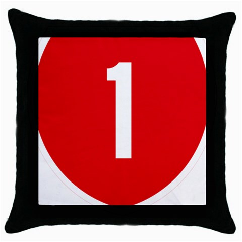 New Zealand State Highway 1 Throw Pillow Case (Black)