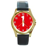 New Zealand State Highway 1 Round Gold Metal Watch Front