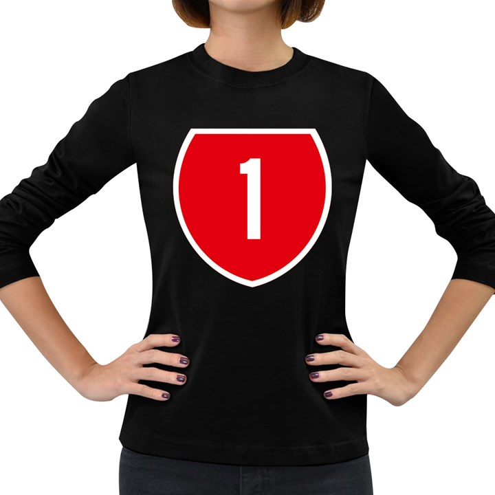 New Zealand State Highway 1 Women s Long Sleeve Dark T-Shirts