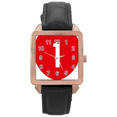 New Zealand State Highway 1 Rose Gold Leather Watch