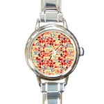 Modern Hipster Triangle Pattern Red Blue Beige Round Italian Charm Watch Front