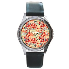 Modern Hipster Triangle Pattern Red Blue Beige Round Metal Watch