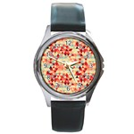 Modern Hipster Triangle Pattern Red Blue Beige Round Metal Watch Front