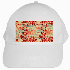 Modern Hipster Triangle Pattern Red Blue Beige White Cap