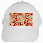 Modern Hipster Triangle Pattern Red Blue Beige White Cap Front