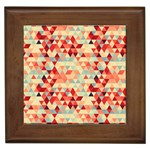 Modern Hipster Triangle Pattern Red Blue Beige Framed Tiles Front