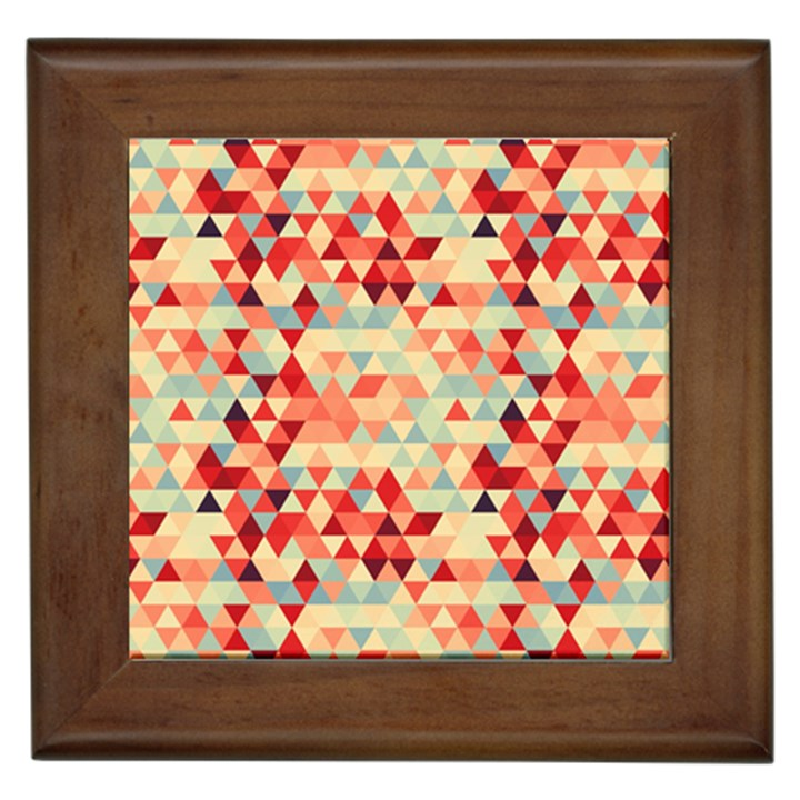 Modern Hipster Triangle Pattern Red Blue Beige Framed Tiles