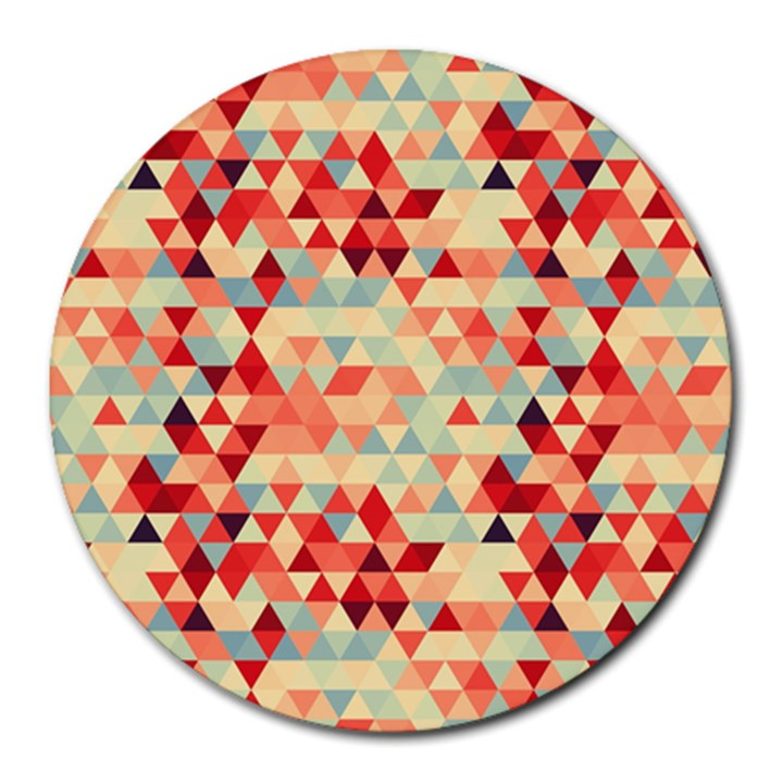 Modern Hipster Triangle Pattern Red Blue Beige Round Mousepads