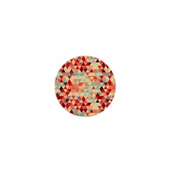 Modern Hipster Triangle Pattern Red Blue Beige 1  Mini Magnets