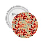Modern Hipster Triangle Pattern Red Blue Beige 2.25  Buttons Front