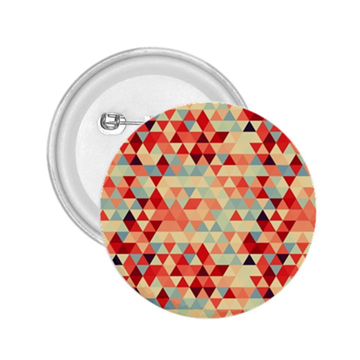 Modern Hipster Triangle Pattern Red Blue Beige 2.25  Buttons
