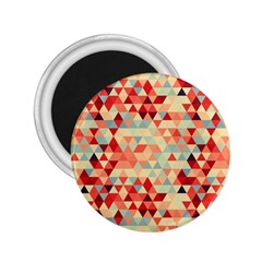 Modern Hipster Triangle Pattern Red Blue Beige 2 25  Magnets
