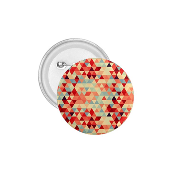 Modern Hipster Triangle Pattern Red Blue Beige 1.75  Buttons