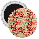 Modern Hipster Triangle Pattern Red Blue Beige 3  Magnets Front