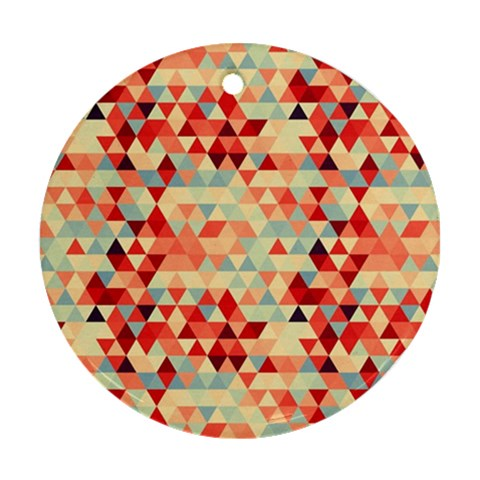 Modern Hipster Triangle Pattern Red Blue Beige Ornament (Round)