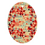 Modern Hipster Triangle Pattern Red Blue Beige Ornament (Oval)  Front