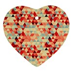Modern Hipster Triangle Pattern Red Blue Beige Ornament (Heart)  Front