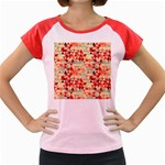 Modern Hipster Triangle Pattern Red Blue Beige Women s Cap Sleeve T-Shirt Front