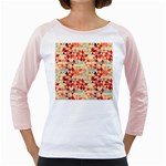 Modern Hipster Triangle Pattern Red Blue Beige Girly Raglans Front