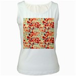 Modern Hipster Triangle Pattern Red Blue Beige Women s White Tank Top Front