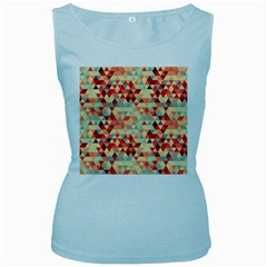 Modern Hipster Triangle Pattern Red Blue Beige Women s Baby Blue Tank Top