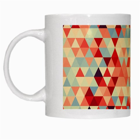 Modern Hipster Triangle Pattern Red Blue Beige White Mugs