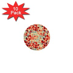Modern Hipster Triangle Pattern Red Blue Beige 1  Mini Buttons (10 Pack)