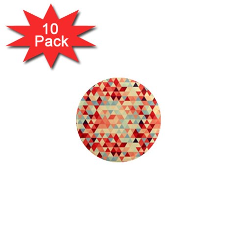 Modern Hipster Triangle Pattern Red Blue Beige 1  Mini Magnet (10 pack)