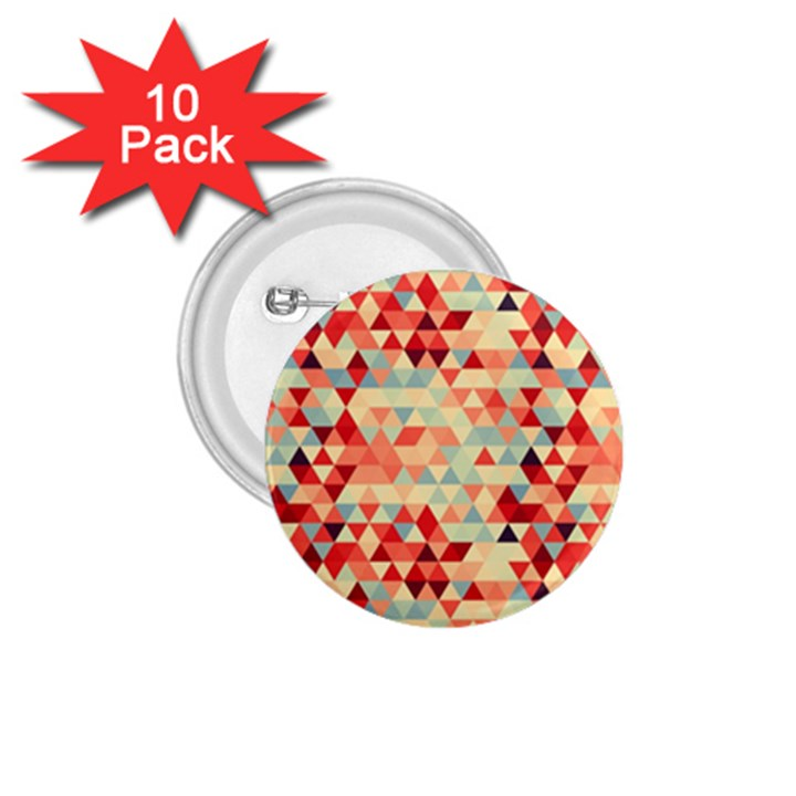 Modern Hipster Triangle Pattern Red Blue Beige 1.75  Buttons (10 pack)
