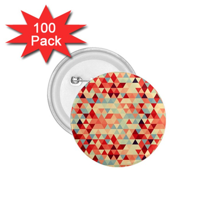 Modern Hipster Triangle Pattern Red Blue Beige 1.75  Buttons (100 pack)