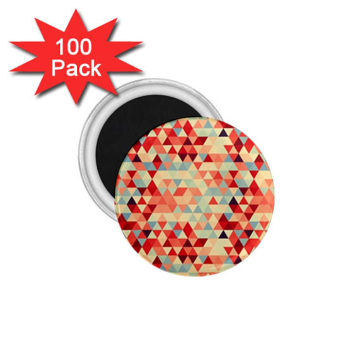Modern Hipster Triangle Pattern Red Blue Beige 1.75  Magnets (100 pack)
