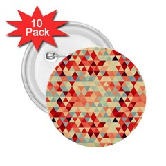 Modern Hipster Triangle Pattern Red Blue Beige 2 25  Buttons (10 Pack)