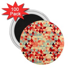 Modern Hipster Triangle Pattern Red Blue Beige 2 25  Magnets (100 Pack)