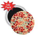 Modern Hipster Triangle Pattern Red Blue Beige 2.25  Magnets (100 pack)  Front