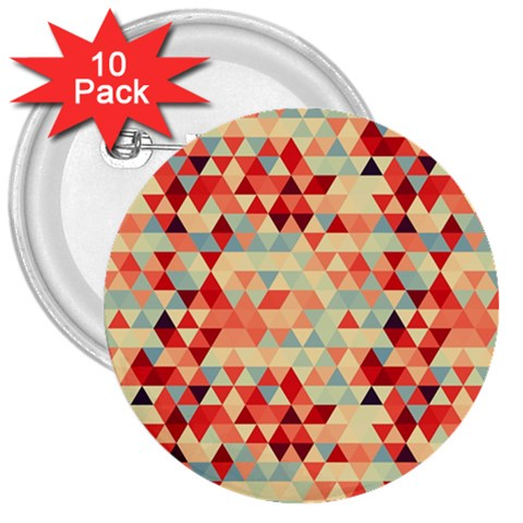 Modern Hipster Triangle Pattern Red Blue Beige 3  Buttons (10 pack)