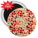 Modern Hipster Triangle Pattern Red Blue Beige 3  Magnets (10 pack)  Front