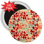 Modern Hipster Triangle Pattern Red Blue Beige 3  Magnets (100 pack) Front