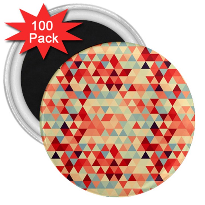 Modern Hipster Triangle Pattern Red Blue Beige 3  Magnets (100 pack)