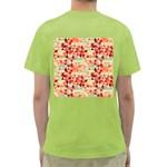 Modern Hipster Triangle Pattern Red Blue Beige Green T-Shirt Back