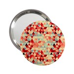 Modern Hipster Triangle Pattern Red Blue Beige 2.25  Handbag Mirrors Front