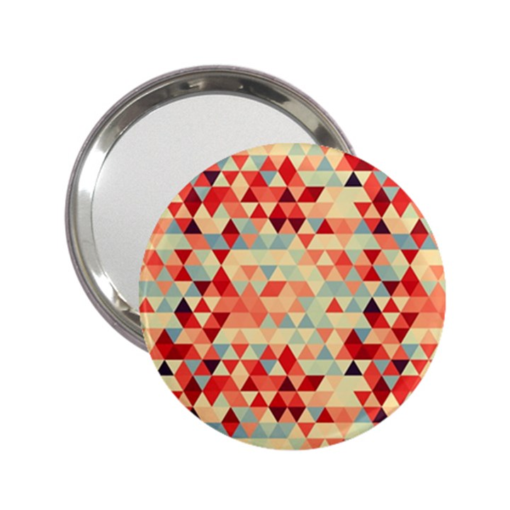 Modern Hipster Triangle Pattern Red Blue Beige 2.25  Handbag Mirrors